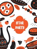 Hand drawn illustration of traditional middle eastern food for iftar party. Flyer template.  vector illustration