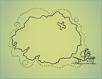 Hand drawn illustration - treasure map. Vector.  Stock Photos