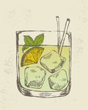 Hand drawn illustration of tropical cocktail. Stock Images