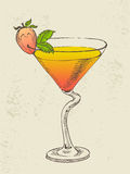 Hand drawn illustration of tropical cocktail. Stock Photos