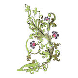 Hand drawn illustration of twig with flowers and leaves Baroque Stock Images