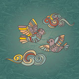 Hand-drawn illustration of two flying birds and clouds decorative Stock Photo