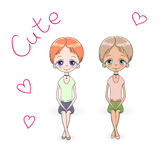Hand drawn illustration of two short haired teenage girls in diagonal cap sleeved tops and shorts, sitting vector illustration