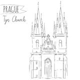 Hand drawn illustration of Tyn Church building in Stock Images