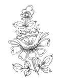 Flower. Hand drawn, , illustration in Ukrainian folk style stock illustration