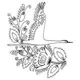 Crane. Hand drawn, , illustration in Ukrainian folk style royalty free illustration