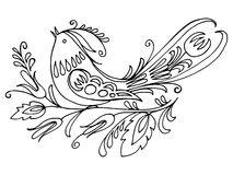 Birdie. Hand drawn, , illustration in Ukrainian folk style Royalty Free Stock Photography