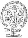 Tree. Hand drawn, , illustration in Ukrainian folk style royalty free illustration