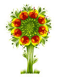 Flower tree Ukraine tribal ethnic style. Hand drawn, , illustration in Ukrainian folk style royalty free illustration