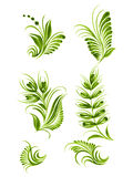 Flower green elements collection Ukraine ethnic style. Hand drawn, , illustration in Ukrainian folk style Royalty Free Stock Photo