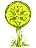 Flower green tree Ukraine ethnic style. Hand drawn, , illustration in Ukrainian folk style vector illustration