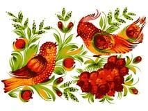 Bird, viburnum and flower. Hand drawn, , illustration in Ukrainian folk style vector illustration