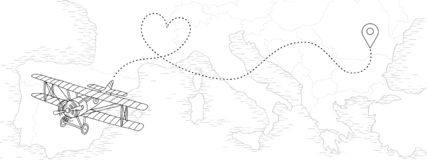 Vintage airplane with dotted route in heart shape. Hand drawn illustration of a vintage airplane with dotted route in heart shape, flying above a map of European royalty free illustration