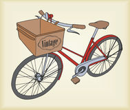 Hand-drawn illustration of vintage bicycle. Royalty Free Stock Photo