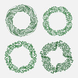 Hand drawn illustration. Vintage decorative lovely set of laurels, branches and wreaths. Doodle Greek ancient wreath, with laurel Royalty Free Stock Photos
