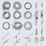 Hand drawn illustration. Vintage decorative lovely set of laurels, branches and wreaths. Doodle greek ancient  wreath, text divide Stock Images