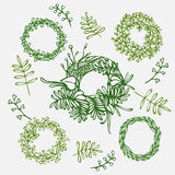 Hand drawn illustration Vintage decorative lovely set of laurels, ribbons, branches and wreaths Doodle greek ancient  wreath, text Stock Image