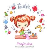 Hand drawn illustration. Watercolor card young girl with sewing machine and tools. Profession Tailor. Can be printed on Stock Image