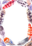 Hand drawn illustration - Watercolor feathers frame. Aquarelle d Stock Images