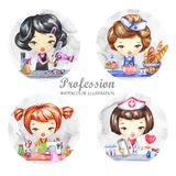 Hand drawn illustration. Watercolor set with female profession. Hairdresser, Baker, Tailor, Doctor. Round icons. Hand drawn illustration. Watercolor set with stock illustration