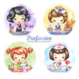 Hand drawn illustration. Watercolor set with female profession. Hairdresser, Baker, Tailor, Doctor. Round icons. Hand drawn illustration. Watercolor set with Stock Photos