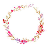 Hand drawn illustration - watercolor wreath. Christmas Wreath with flowers, berries. Perfect for invitations, greeting Royalty Free Stock Photos