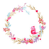 Hand drawn illustration - watercolor wreath. Christmas Wreath with flowers, berries. Perfect for invitations, greeting Stock Images