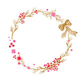 Hand drawn illustration - watercolor wreath. Christmas Wreath with flowers, berries. Perfect for invitations, greeting Stock Photos