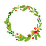 Hand drawn illustration - watercolor wreath. Christmas Wreath with flowers, berries. Perfect for invitations, greeting Stock Image