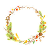 Hand drawn illustration - watercolor wreath. Christmas Wreath with flowers, berries. Perfect for invitations, greeting Stock Photography