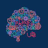 Hand drawn illustration. Welcome back to school. Brain with text Stock Photos