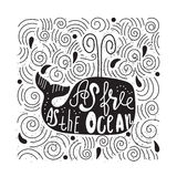 Hand drawn illustration with a whale and lettering. Royalty Free Stock Image