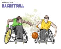 Hand drawn illustration. Wheelchair Basketball. Vector sketch sport. Graphic figure of disabled athletes with a ball. Active people. Recreation lifestyle. Man Stock Photography