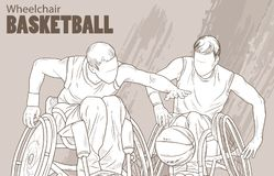 Hand drawn illustration. Wheelchair Basketball. Vector sketch sport. Graphic silhouette of disabled athletes with a ball. Active people. Recreation lifestyle Stock Photo
