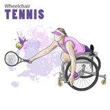 Hand drawn illustration. Wheelchair Tennis athlete. Vector sketch sport. Graphic figure of disabled girl with a racket Royalty Free Stock Photography
