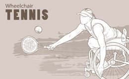 Hand drawn illustration. Wheelchair Tennis athlete. Vector sketch sport. Graphic silhouette of disabled girl with a Stock Images