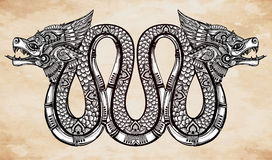 Hand drawn illustration of winged serpent. Stock Photography