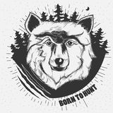 Hand-drawn illustration of a wolf head. In black and white. Tattoo Design Stock Photo