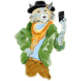 Hand drawn illustration of wolf man dressed up in cool clothes. Fashion animal. wolf hipster. Magazine fashion look Royalty Free Stock Photos