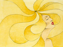 Hand Drawn Illustration Woman, Big Blonde Hair Royalty Free Stock Photos