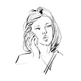 Hand drawn illustration of woman with cell phone. Stock Photo