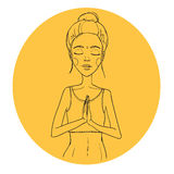 Hand drawn illustration - Woman yoga. Relax. Vector. Stock Photography