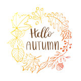 Hand drawn  illustration. Wreath with Fall leaves. Forest design elements. Hello Autumn! Royalty Free Stock Photo
