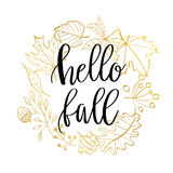 Hand drawn  illustration. Wreath with Fall leaves. Forest design elements. Hello Autumn Stock Photos