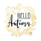 Hand drawn  illustration. Wreath with Fall leaves. Forest design elements. Hello Autumn Royalty Free Stock Photography