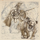 Hercules. An hand-drawn illustrations in ancient Greek myths and legends: Hercules, The Twelve Labours: Capture the Erymanthian Boar Royalty Free Illustration