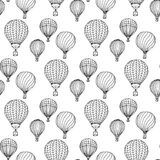 Hand-drawn illustrations. Black and white aerostats. Seamless pattern. Hand-drawn illustrations. Black and white aerostats. Seamless pattern Stock Photos