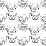 Hand-drawn illustrations. Black and white teacups. Postcard cute funny fell asleep in a cup. Seamless pattern. Stock Photography