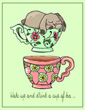 Hand-drawn illustrations. Bright teacups. Postcard cute funny fell asleep in a cup. Royalty Free Stock Image
