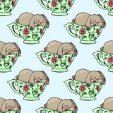 Hand-drawn illustrations. Bright teacups. Postcard cute funny fell asleep in a cup. Seamless pattern. Stock Photography